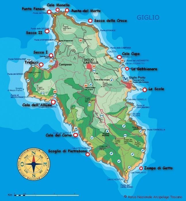 Noleggio Trimarano Isola del Giglio- Cartina Giglio - Vela Giglio Campese - Isola del Giglio - Trimarano Giglio Porto